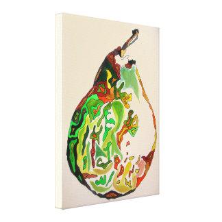 Birnenfrucht-Wasserfarbe-Kunstillustration Gespannter Galeriedruck