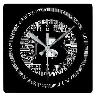 Bitcoin - das Internet des Geldes Quadratische Wanduhr