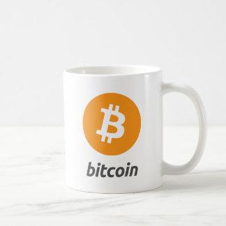 Bitcoin Logo mit Schrift Kaffeetasse