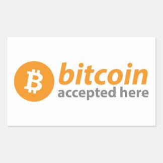 Bitcoin nahm hier Rechteck-Aufkleber an Rechteckiger Aufkleber