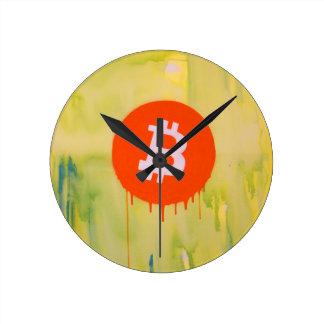 Bitcoin Runde Wanduhr