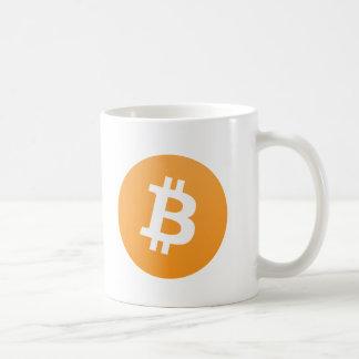 Bitcoin ursprüngliches orange und weißes Logo mit Kaffeetasse
