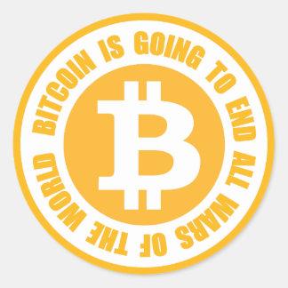 Bitcoin wird alle Kriege der Welt beenden Runder Aufkleber