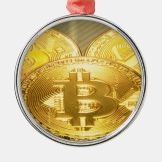 Bitcoins makro großes rundes mojo silbernes ornament