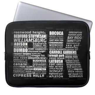 BK Brooklyn New York Typografie-Laptop-Hülse Laptopschutzhülle
