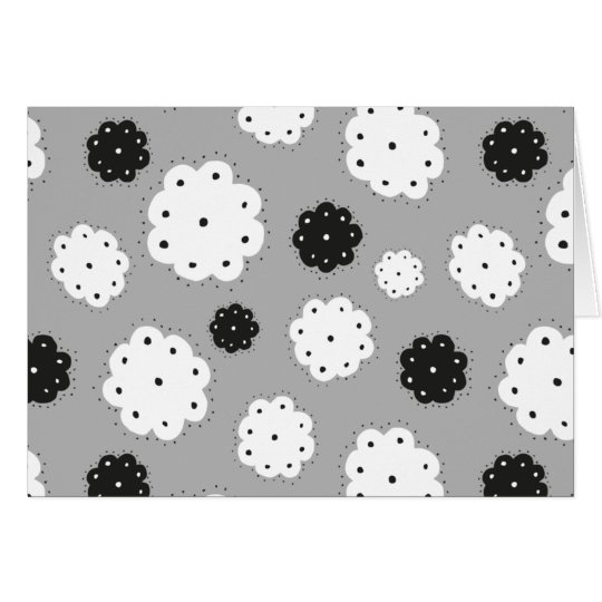 black and white FLOWIE pattern postcard Karte