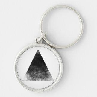 Black Triangle Silberfarbener Runder Schlüsselanhänger