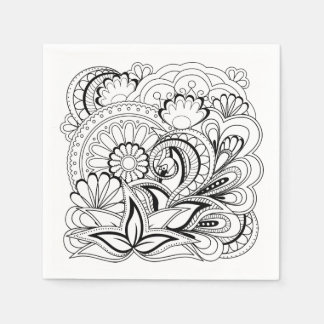 black&white Zen pattern Papierservietten