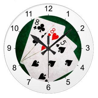 Blackjack 21 Punkt - acht, acht, fünf Große Wanduhr