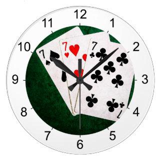 Blackjack 21 - Sieben, sieben, sieben Große Wanduhr