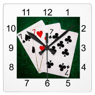 Blackjack 21 - Sieben, sieben, sieben Quadratische Wanduhr