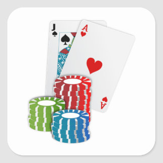 Blackjack mit Poker-Chips Quadratischer Aufkleber