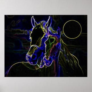 Blacklight Pferdeplakat-Druck - Pferdeplakate Poster