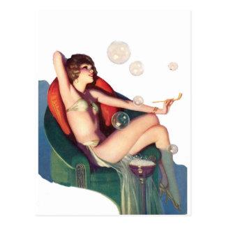 Blasen mit einem klassischen Button-oben Postkarte