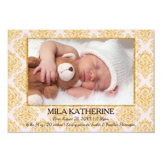 Blaß - rosa Geburts-Mitteilung GlitterFlourish-3x5 8,9 X 12,7 Cm Einladungskarte