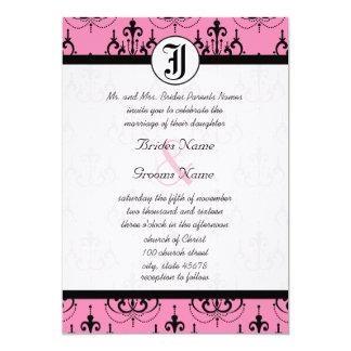 Blaß - rosa Leuchter mit Foto-Hochzeit lädt ein 12,7 X 17,8 Cm Einladungskarte