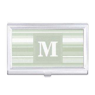 Blasse e-grün Streifen des Monogramms Visitenkarten-Halter