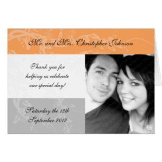 Blasse Melone und graue Hochzeit danken Ihnen Karte