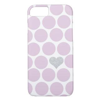 Blasse Pflaumen-Tupfen-silbernes Herz iPhone iPhone 8/7 Hülle