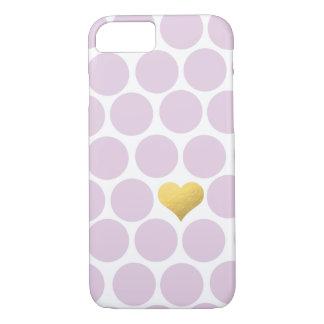 Blasses Pflaumen-Tupfen-Goldfolien-Herz iPhone iPhone 8/7 Hülle