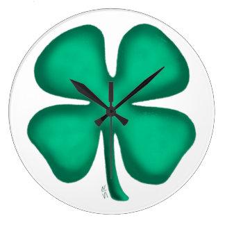 Blatt-irischen des Klees des Glück-4 große Wanduhr