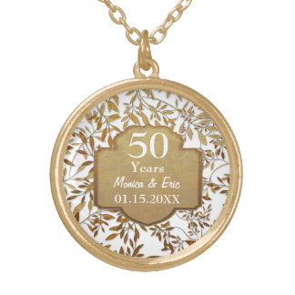 Blätter Hochzeits-Jahrestages des Gold50. Halskette Mit Rundem Anhänger