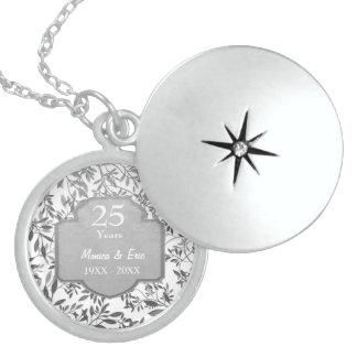 Blätter Silber-des 25. Hochzeits-Jahrestages Medaillons