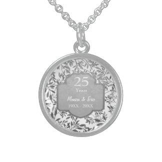 Blätter Silber-des 25. Hochzeits-Jahrestages Sterlingsilber Halsketten