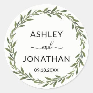 Blätterbotanischer Wreath-Wedding Weiß beschriftet Runder Aufkleber