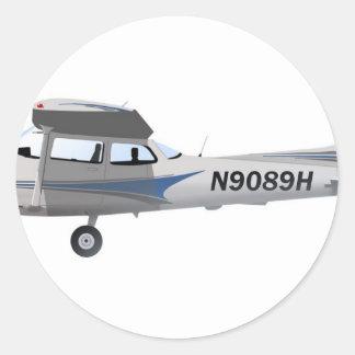 Blau Cessnas 172 Skyhawk Runder Sticker