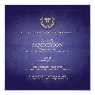 Blau der medizinische SchulAbschluss-Mitteilungs-| Quadratische 13,3 Cm Einladungskarte