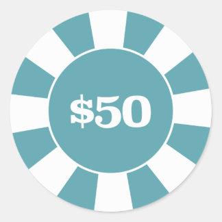 Blau des Poker-Untersetzer-50 Runder Aufkleber