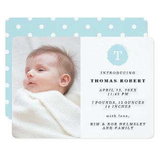 Blau gemalte Monogramm-Foto-Geburts-Mitteilung 12,7 X 17,8 Cm Einladungskarte