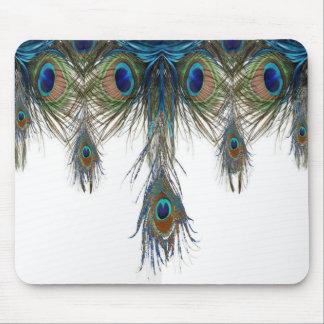 Blau-grün-Pfau-Federkunst Mauspad