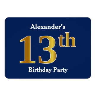 Blau, Imitat-Gold13. Geburtstags-Party + 12,7 X 17,8 Cm Einladungskarte