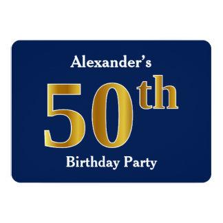 Blau, Imitat-Gold50. Geburtstags-Party + 12,7 X 17,8 Cm Einladungskarte