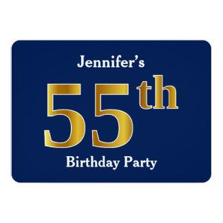 Blau, Imitat-Gold55. Geburtstags-Party + 12,7 X 17,8 Cm Einladungskarte