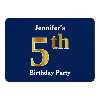 Blau, Imitat-Gold5. Geburtstags-Party + 12,7 X 17,8 Cm Einladungskarte