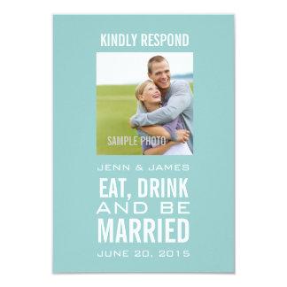 Blau isst Getränk ist verheiratetes Foto-Hochzeit 8,9 X 12,7 Cm Einladungskarte