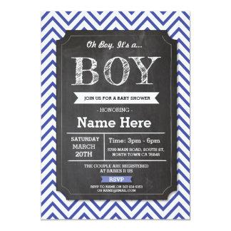 Blau ist es eine Jungen-Baby-Dusche, die Zickzack 12,7 X 17,8 Cm Einladungskarte