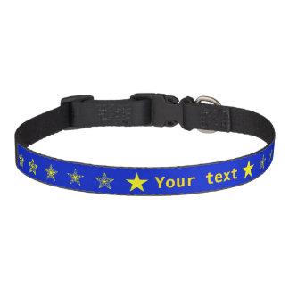 Blau mit den gelben Sternen personalisiert Haustierhalsband