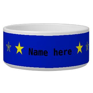 Blau mit gelben Sternen addiert Namenshaustier Napf