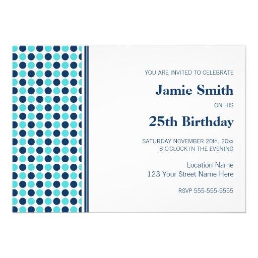 Blau-Punkt-25. Geburtstags-Party Einladung