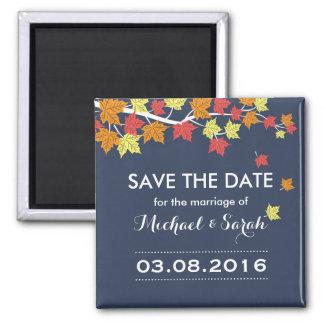 Blau-Save the Date Ahorn-Blatt-Hochzeit im Quadratischer Magnet