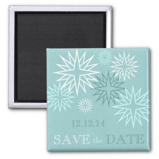 Blau-Save the Date Winter-Hochzeits-Magneten Quadratischer Magnet
