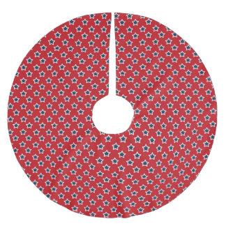 Blau-u. Weiß-Sterne auf Rot Polyester Weihnachtsbaumdecke