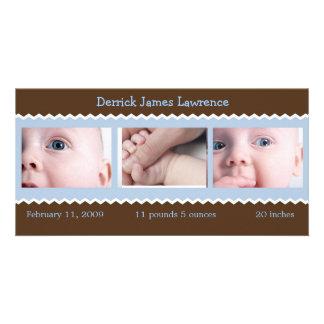 Blau- und Brown-Babymitteilung Individuelle Foto Karte