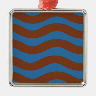 Blau und Brown-Wellen Quadratisches Silberfarbenes Ornament