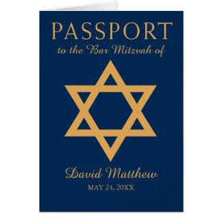 Blau-und Golddavidsstern Bar Mitzvah Pass Mitteilungskarte
