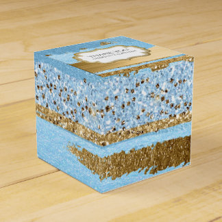 Blau-und GoldImitat-Farbe und Geschenkschachtel